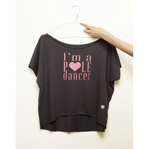 I'm a pole dancer loose tee rosa baby e grigio // baby pink and grey