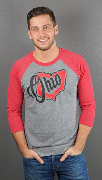 Heart Ohio Unisex/men's 3/4 Sleeve Raglan T-Shirt