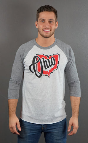 Heart Ohio Men's/Unisex 3/4 Sleeve Raglan T-Shirt