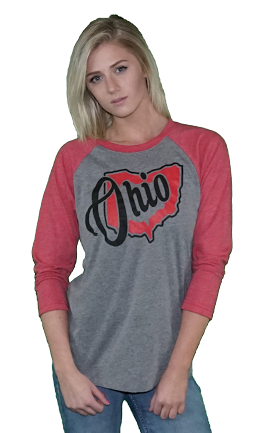 Women's/Unisex Ohio 3/4 Sleeve Raglan