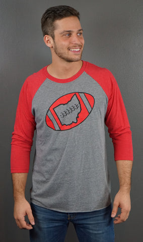 Men's Ohio Football 3/4 Sleeve Raglan T-Shirt