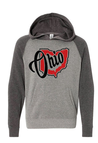 Heart Ohio Youth Special Blend Raglan Hooded Sweatshirt