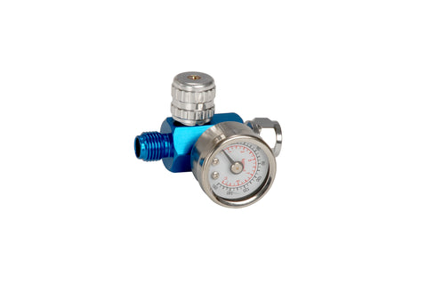 FMT3040 Our best air regulator and gauge for spray guns.  This unit is very small (just 32mm) and lightweight (just 100g) and features a glass lens which isn't affected by the solvents.