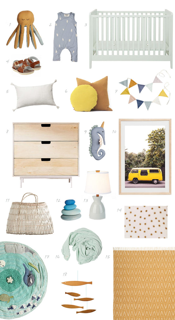 Summer-inspired nursery idea board with 100 Layer Cake-Let!
