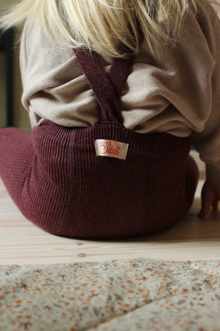 Silly Silas Ribbed Baby Tights with Braces in Fig