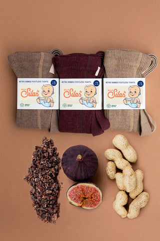Silly Silas baby ribbed tights with braces in fig, peanut blend and cacao blend