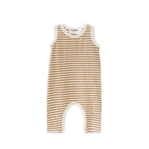 Go Gently Nation Long Romper in Tan Stripe SS19