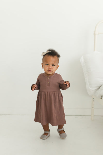 Plum Long Sleeve Button Ribbed Organic Cotton Dress Lifestyle