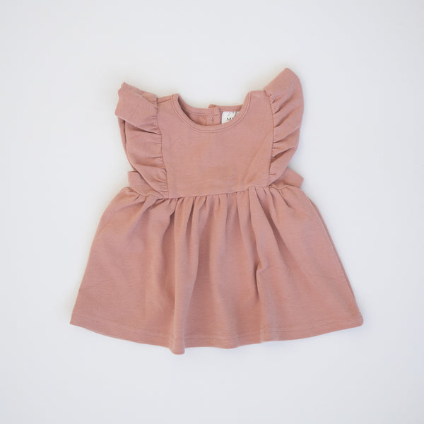 Mebie Baby Rose Cotton Ruffle Dress flat