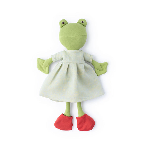 Hazel Village Ella Toad in Dewdrop Linen Dress and Frog Socks