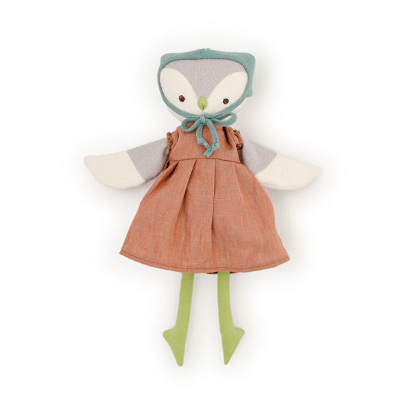 Hazel Village Lucy Owl in Clay Linen Dress and Bonnet
