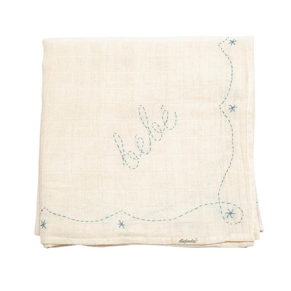 Large Swaddle in Bebe Blue - sugarloaf