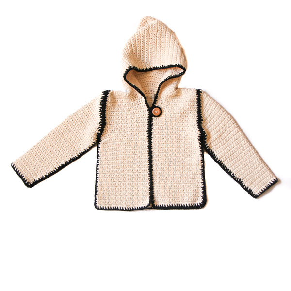 KALINKA KIDS LARRY HOODED JACKET IN MILK