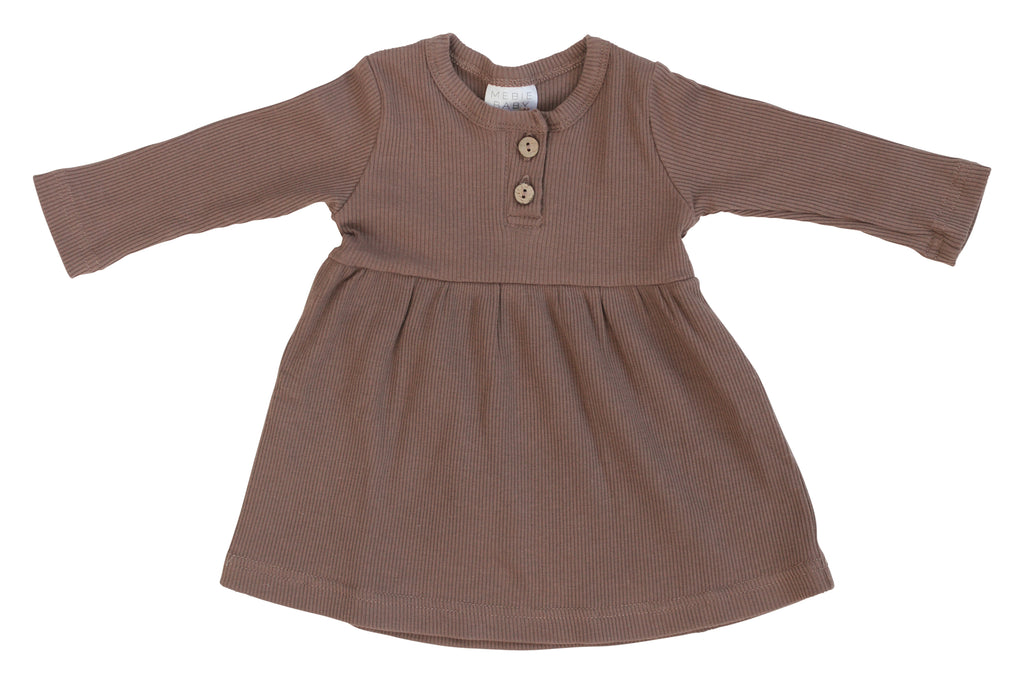 Mebie Baby Mebie Baby Plum Long Sleeve Ribbed Organic Cotton Dress product image