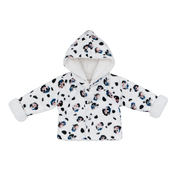 WINTER BABY JACKET IN SNOW LEOPARD - sugarloaf