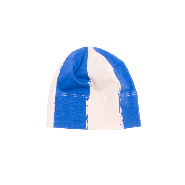 ORGANIC BABY BEANIE HAT IN BLUE STRIPES - sugarloaf