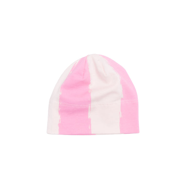 ORGANIC BABY BEANIE HAT IN PINK STRIPES - sugarloaf