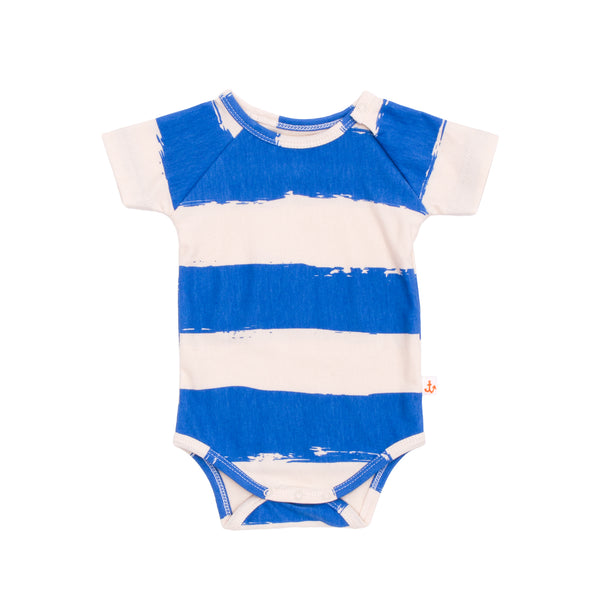 ORGANIC BABY ONESIE IN BLUE STRIPES