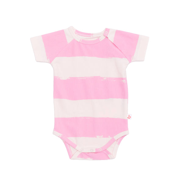ORGANIC BABY ONESIE IN PINK STRIPES - sugarloaf