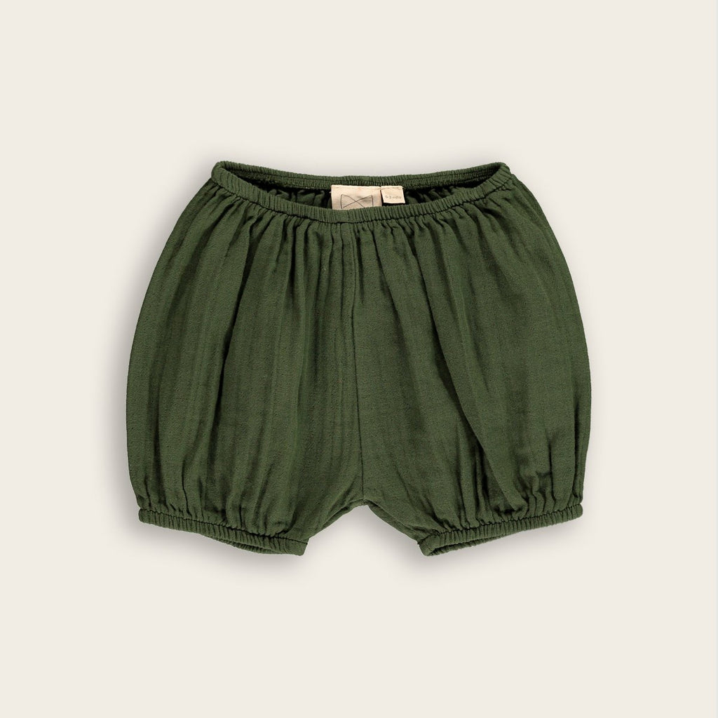 Mini Sibling by Beau Loves Woven Baby Bloomer in Dark Moss