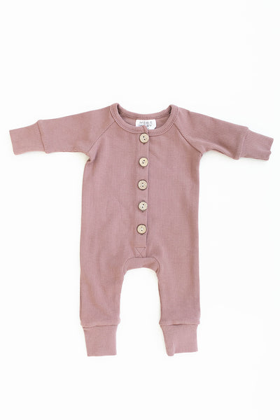 Mebie Baby Blush Ribbed Long Sleeve Button Romper