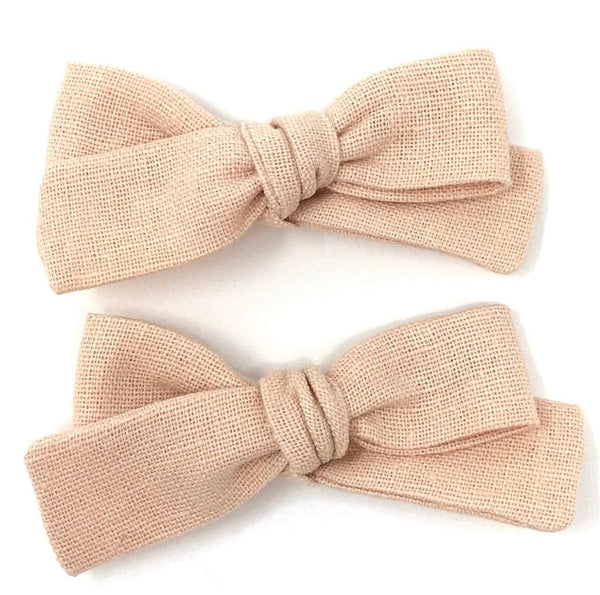 SKINNY RIBBON PIGTAIL IN ROSE LINEN