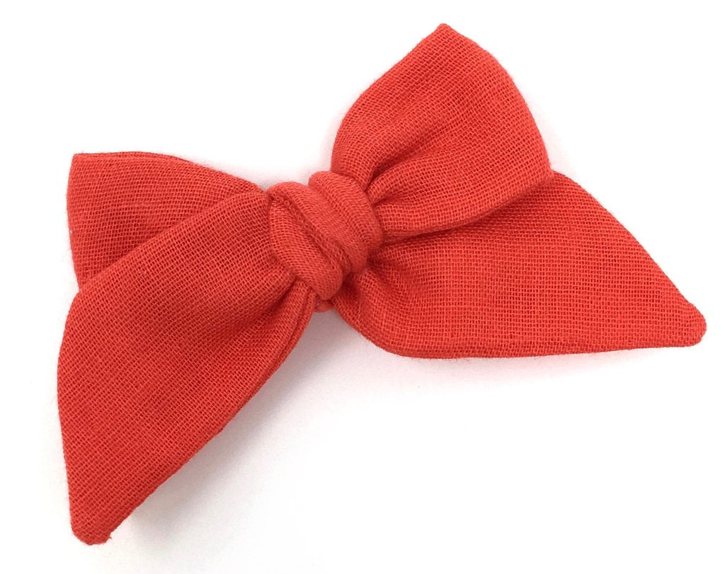 LuluLuvs BABY TIED BOW IN RED MAPLE GAUZE - CLIP - sugarloaf