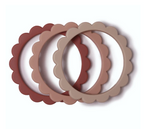 Mushie Mushie Flower Teething Bracelet 3-Pack (Rose/Blush/Shifting Sand)