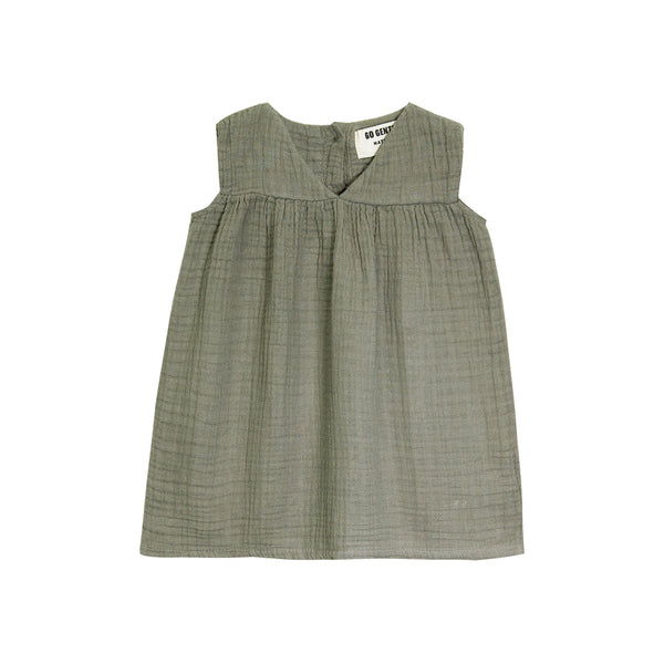 Go Gently Nation Gauze Frock Baby Dress in thyme