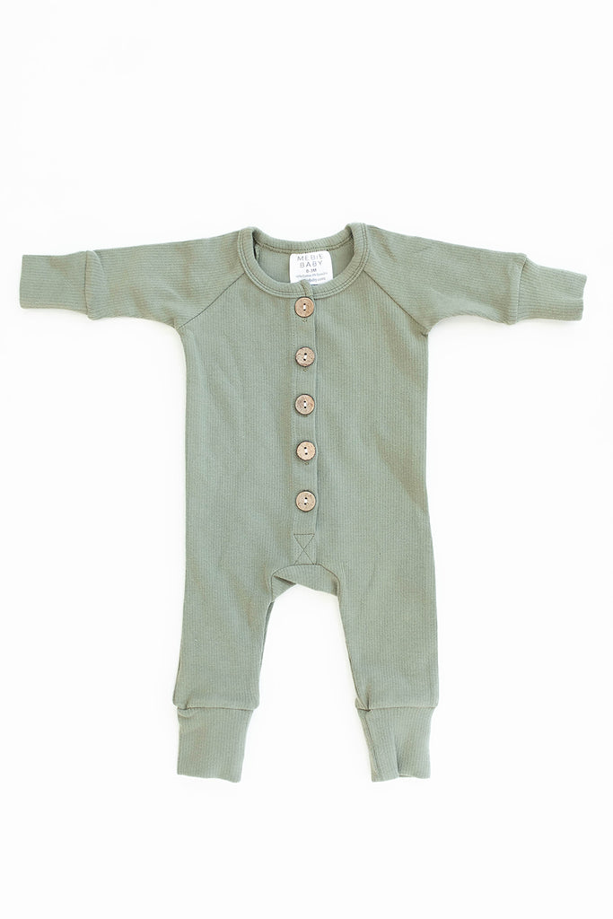 Mebie Baby Mebie Baby Green Ribbed Long Sleeve Button Romper