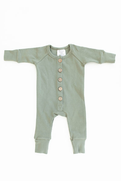Mebie Baby Green Ribbed Long Sleeve Button Romper