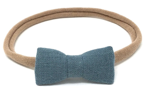 ITTI BITTY BOW IN DUSTY BLUE GAUZE - sugarloaf