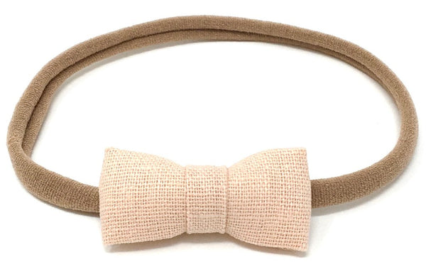 ITTI BITTY BOW IN BLUSH LINEN - sugarloaf