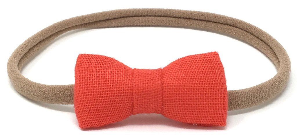 LuluLuvs ITTI BITTY BABY BOW IN RED MAPLE GAUZE - sugarloaf