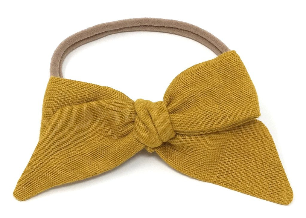 LuluLuvs BABY TIED BOW IN OCHRE GAUZE HEADBAND - sugarloaf