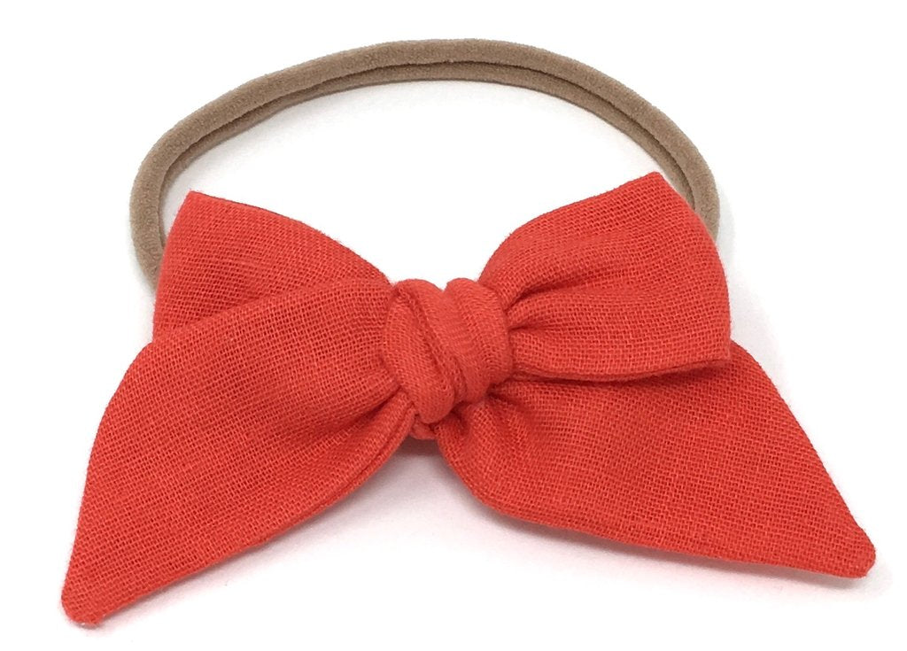 LuluLuvs BABY TIED BOW IN RED MAPLE GAUZE HEADBAND - sugarloaf