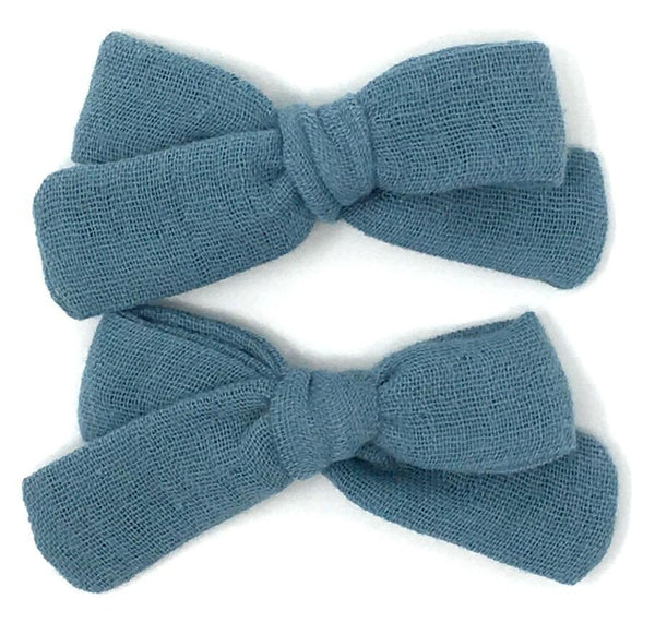 SKINNY RIBBON PIGTAIL IN DUSTY BLUE GAUZE