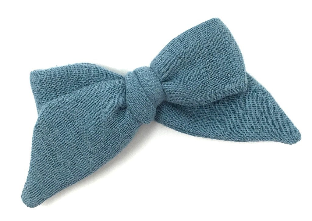 LuluLuvs BABY TIED BOW IN DUSTY BLUE  GAUZE - CLIP - sugarloaf
