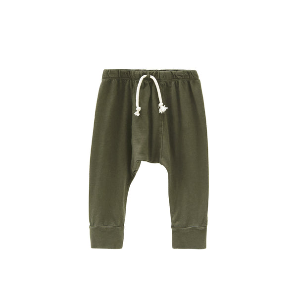 Go Gently Nation Jersey Harem Pants in Moss