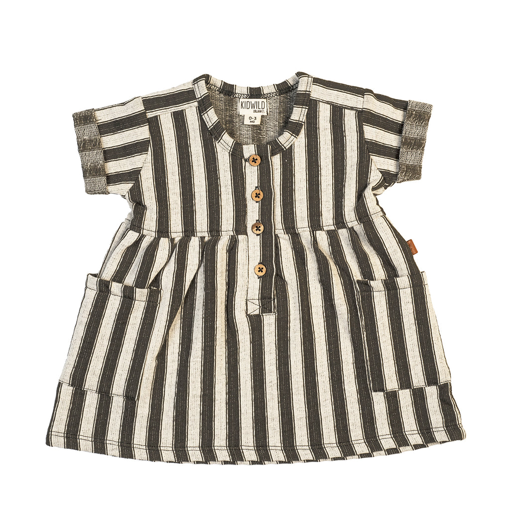 KidWild Organics Organic Pocket Baby Dress - Slate Stripe