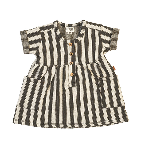 Organic Pocket Baby Dress - Slate Stripe