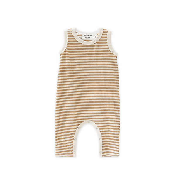 GO GENTLY NATION LONG ROMPER TAN STRIPE