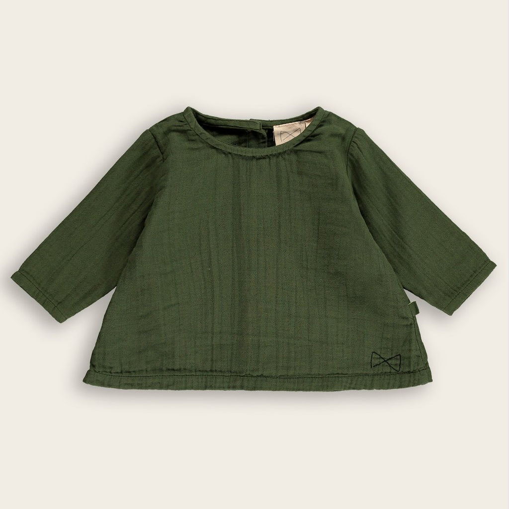Mini Sibling by Beau Loves Long Sleeve A-Line Top in Dark Moss