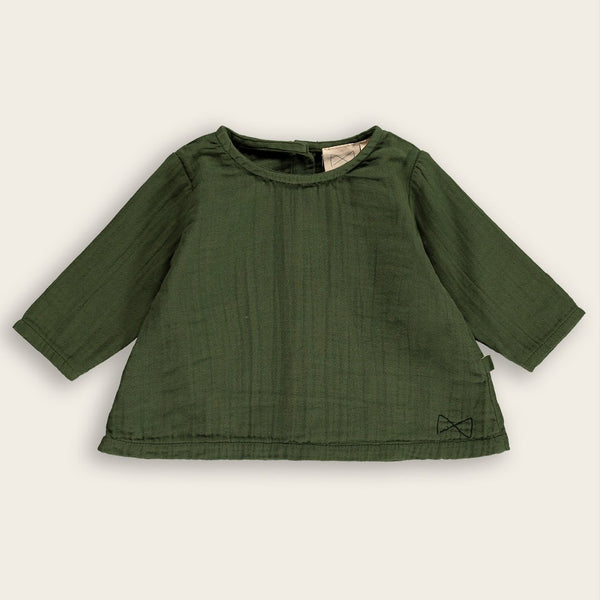 Long Sleeve A-Line Top in Dark Moss