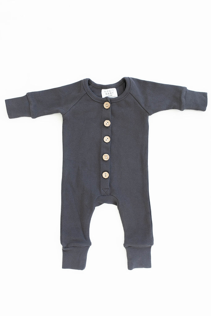 Mebie Baby Mebie Baby Charcoal Ribbed Long Sleeve Button Romper