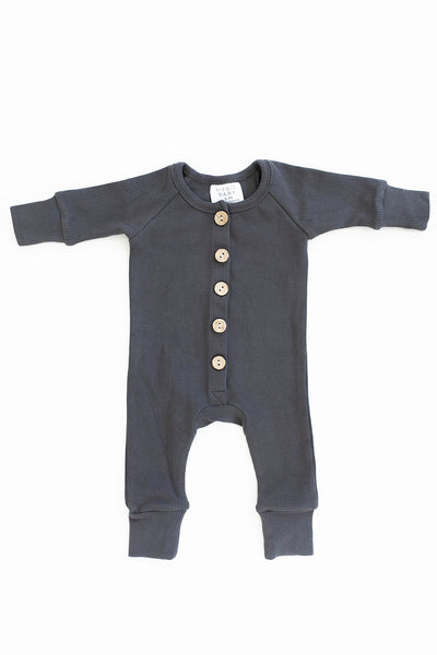 Mebie Baby Charcoal Ribbed Long Sleeve Button Romper
