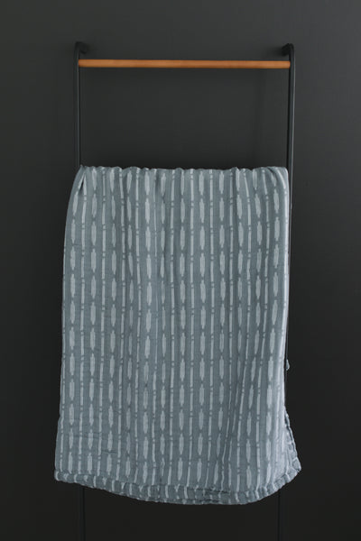 Mebie Baby Dusty Blue Horizon Muslin Swaddle Blanket. Muslin Blankets are 100% Cotton.