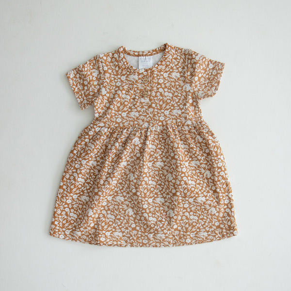 Mebie Baby Mustard Floral Cotton Dress flat