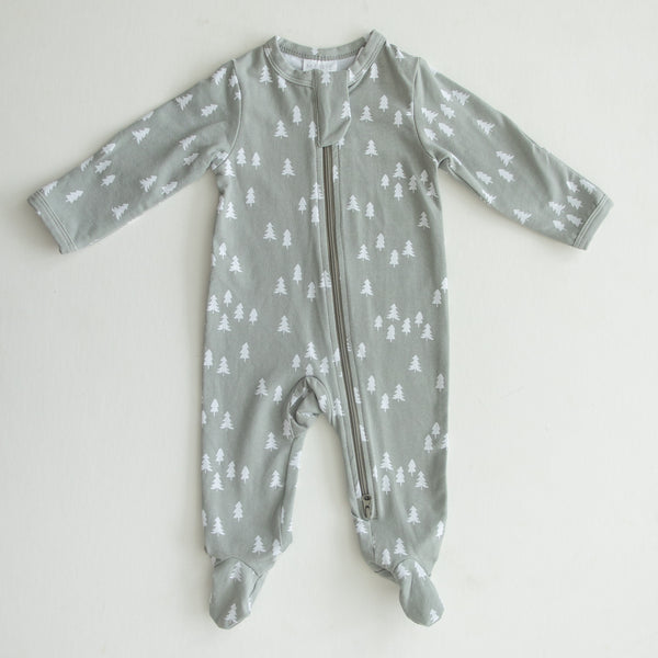 Mebie Baby Pines Cotton Footed Zipper One-piece flat