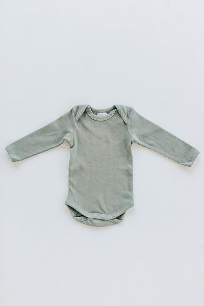 Mebie Baby Green Organic Cotton Long Sleeve Ribbed Bodysuit